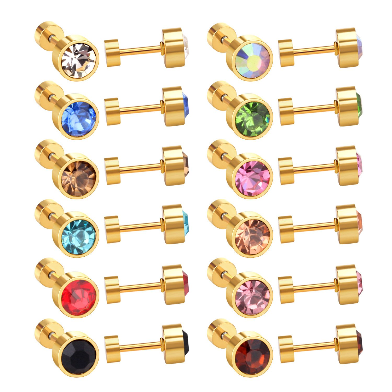 LUXU kisskids 12 Pairs 6MM CZ Stainless Steel Plug Stud Earrings for Kids Teen Girl Women
