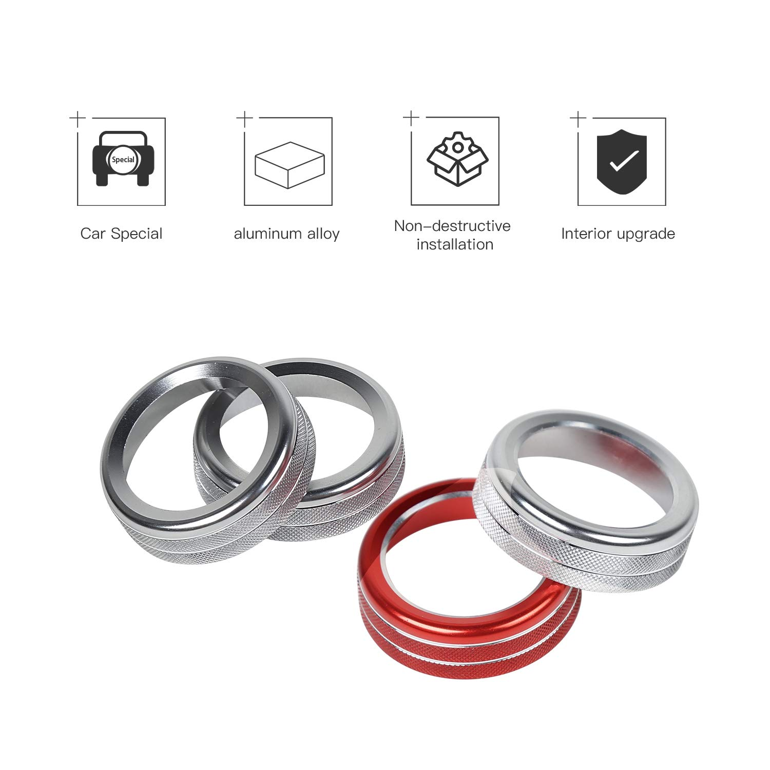 Voodonala for Ford F150 Air Conditioner Switch CD Button Release Mirrors 4WD Knob for F150 2013 2014 Aluminum Alloy Red