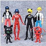 6Pcs Miraculous Ladybug Action Figure Tikki Noir Cat Plagg Adrien Toy Set Gift