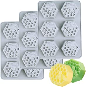 Kingrol 3-Pack 6 Cavities Silicone Soap Molds, Flexible Baking, Ice Cube Tray, Easy Release
