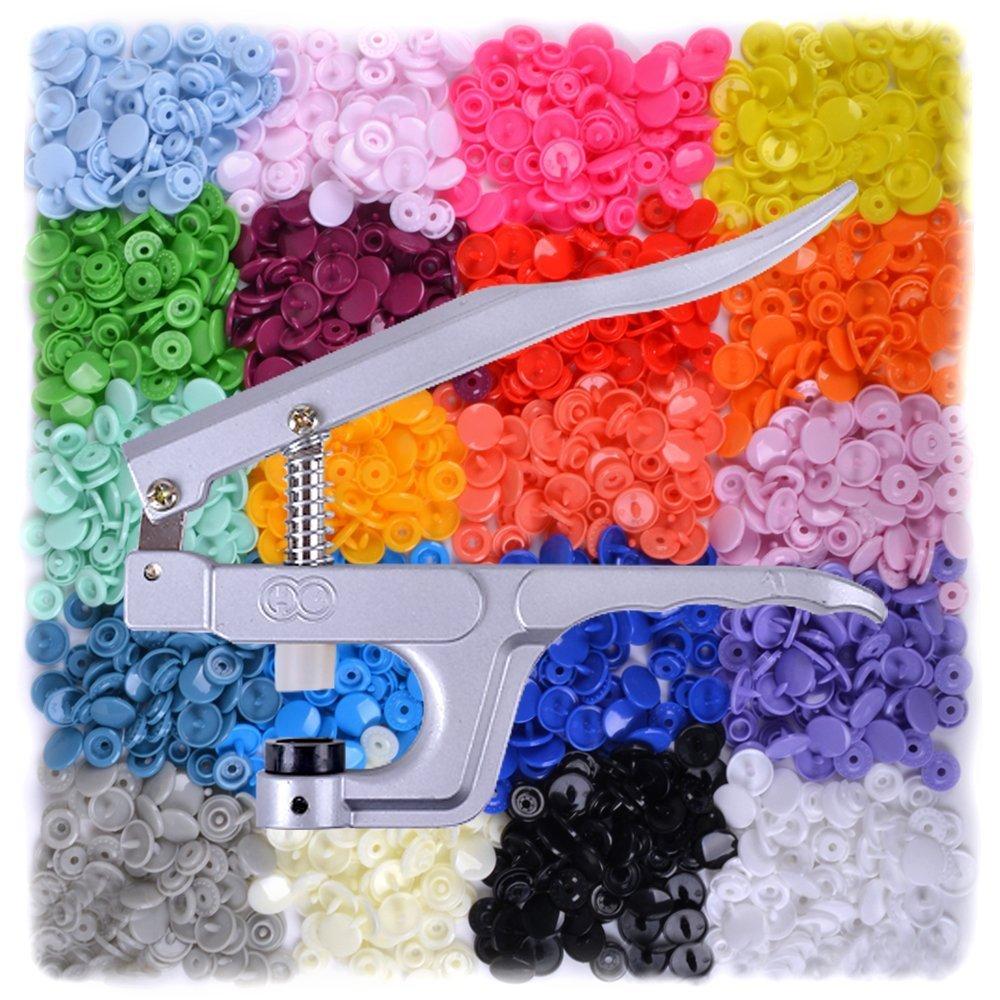 Plastikdruckkn/öpfe T5 Klickknopf Doppelknopf Pack mit 300 20 Farben und eine Zange by DURSHANI