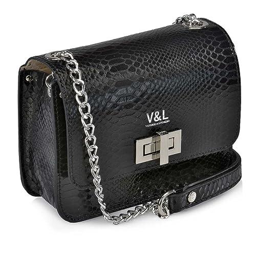 Victorio   Lucchino Bolso de Mujer con Bandolera metalica 10320 Serpiente  (Color  Negro) 8fa361a46e4
