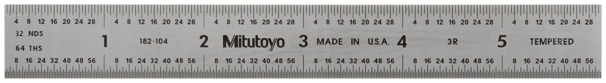 Mitutoyo 182-104, Steel Rule, 6'' (3R), (1/32, 1/64, 1/10, 1/50''), 3/64'' Thick X 3/4'' Wide, Satin Chrome Finish Tempered Stainless Steel