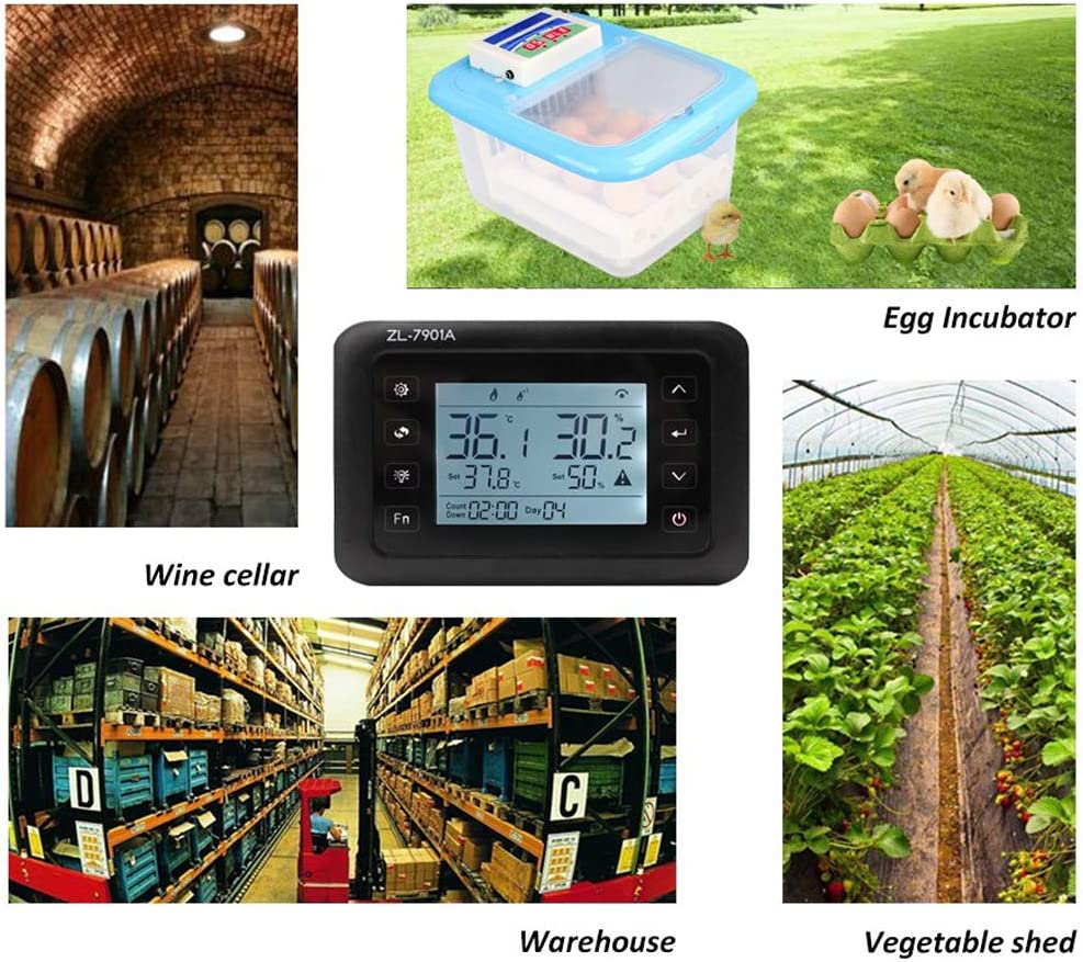 KK moon Intelligent PID Temperature Humidity Controller Multifunction Automatic Egg Incubator Thermometer with LCD Display and Two Sensor 100V-240V AC ZL-7901A