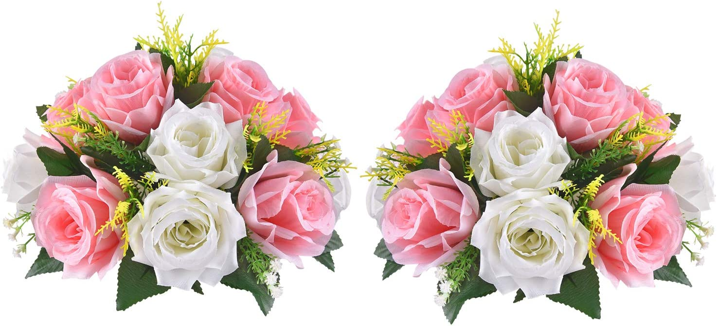 Martine Mall Artificial Flowers 2 Packs Fake Rose Flower Ball Arrangement Bouquet,15 Heads Plastic Roses for Wedding Centerpiece Parties Valentine's Day Home Decor(Pink)