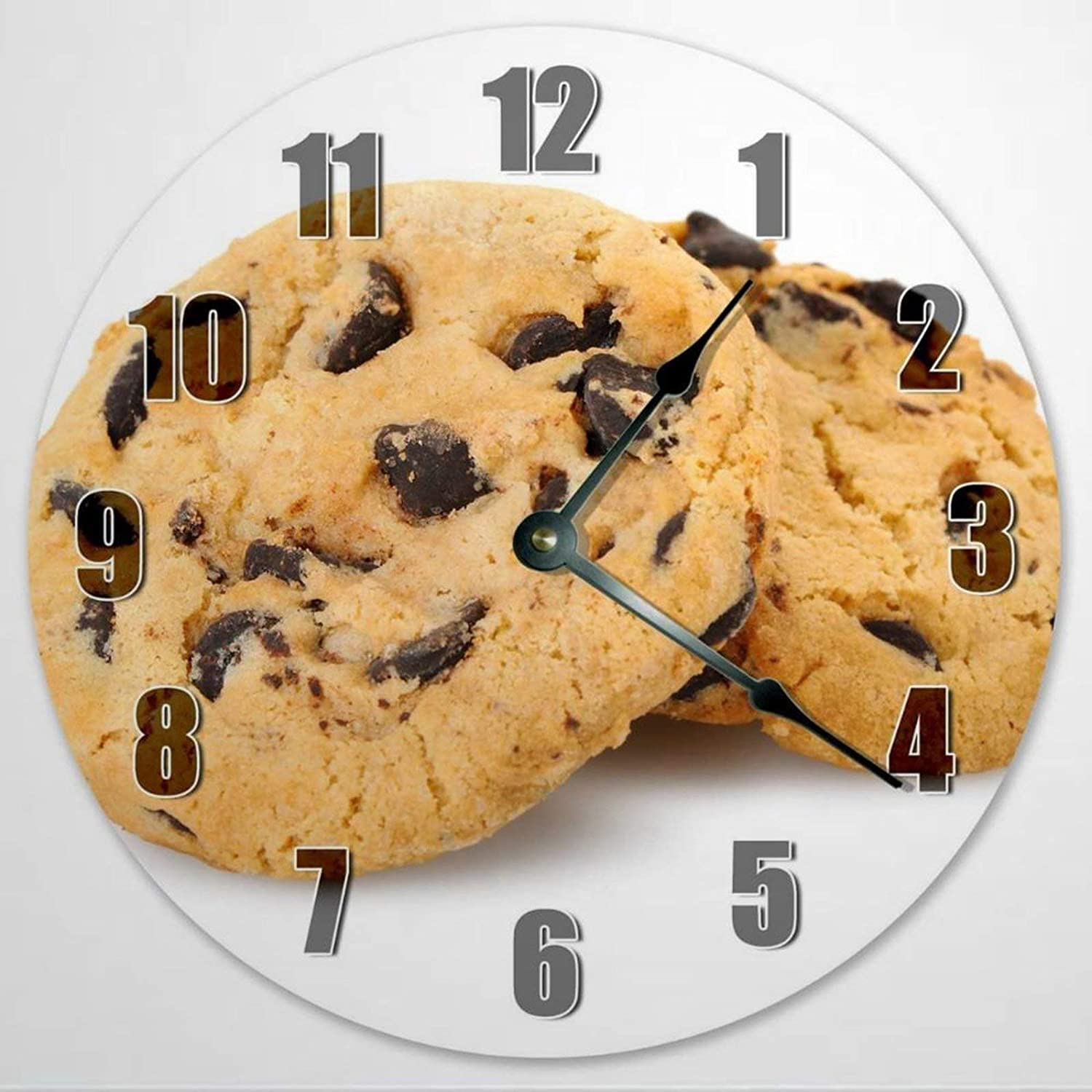 Chocolate Chip Cookie Wooden Wall Clock Silent Non Ticking Food Clock 12 Inch Battery Operated Round Easy to Read Kitchen Clock for Home Office School