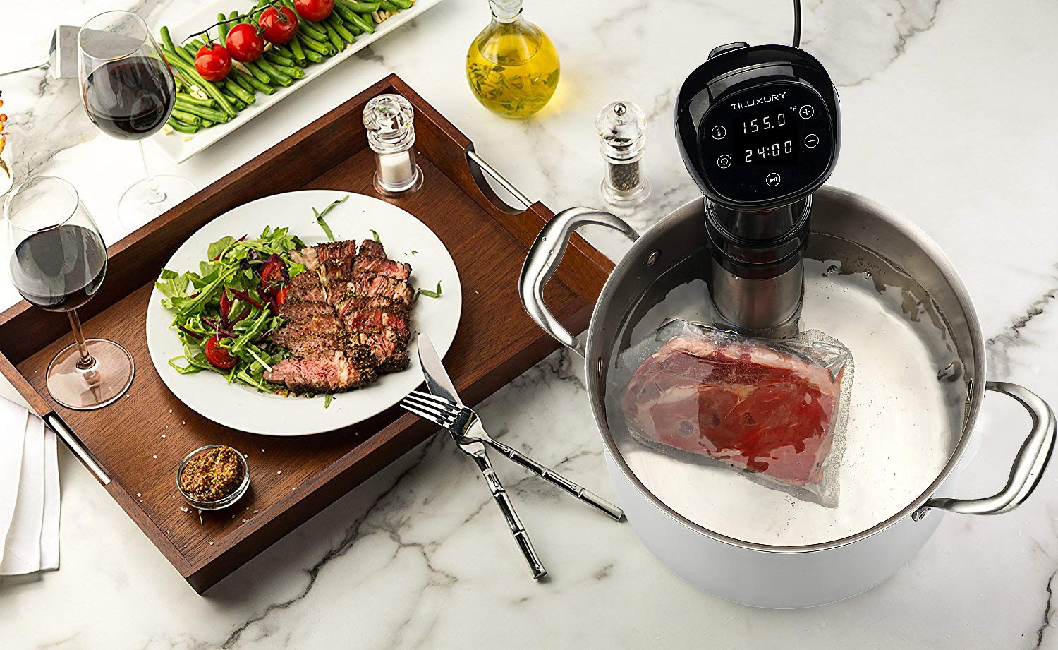 Precise Immersion Circulator Sous Vide Cooker, LCD Touch Screen, Accurate Time and Temperature Control, 800 Watts, Durable Stainless Steel Stick, Ultra Quiet, Black by US PIEDLE (Image #7)