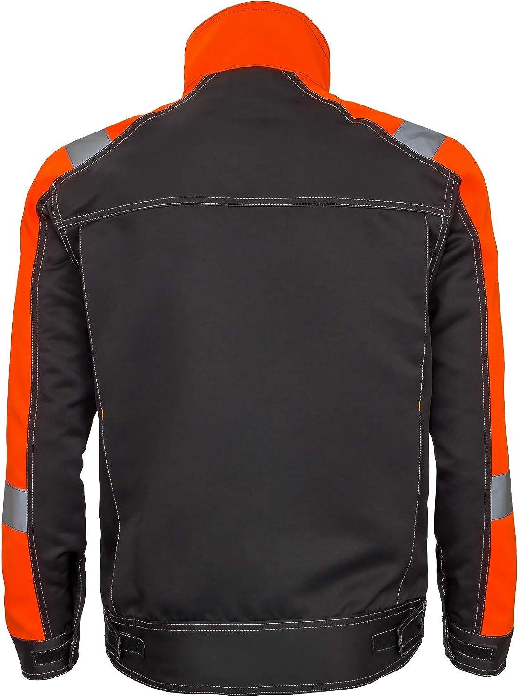Sicherheitsjacke Arbeits Schutz Warnjacke Schwarz Orange URG-J-914