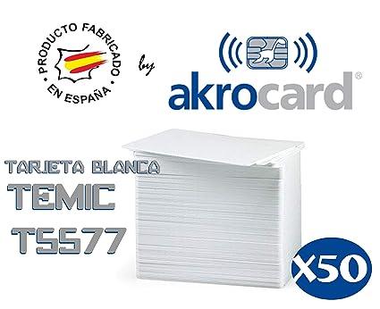 Pack 50 -Tarjeta PVC BLANCA de proximidad con chip Temic ...