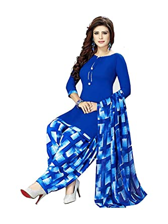 Ishin Synthetic Blue Printed Unstitched Salwar Suit Dress Material With Dupatta