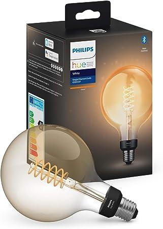 Philips Hue Bombilla Inteligente LED E27, 7W, forma globo, con Bluetooth, Filamento, Luz Blanca C...