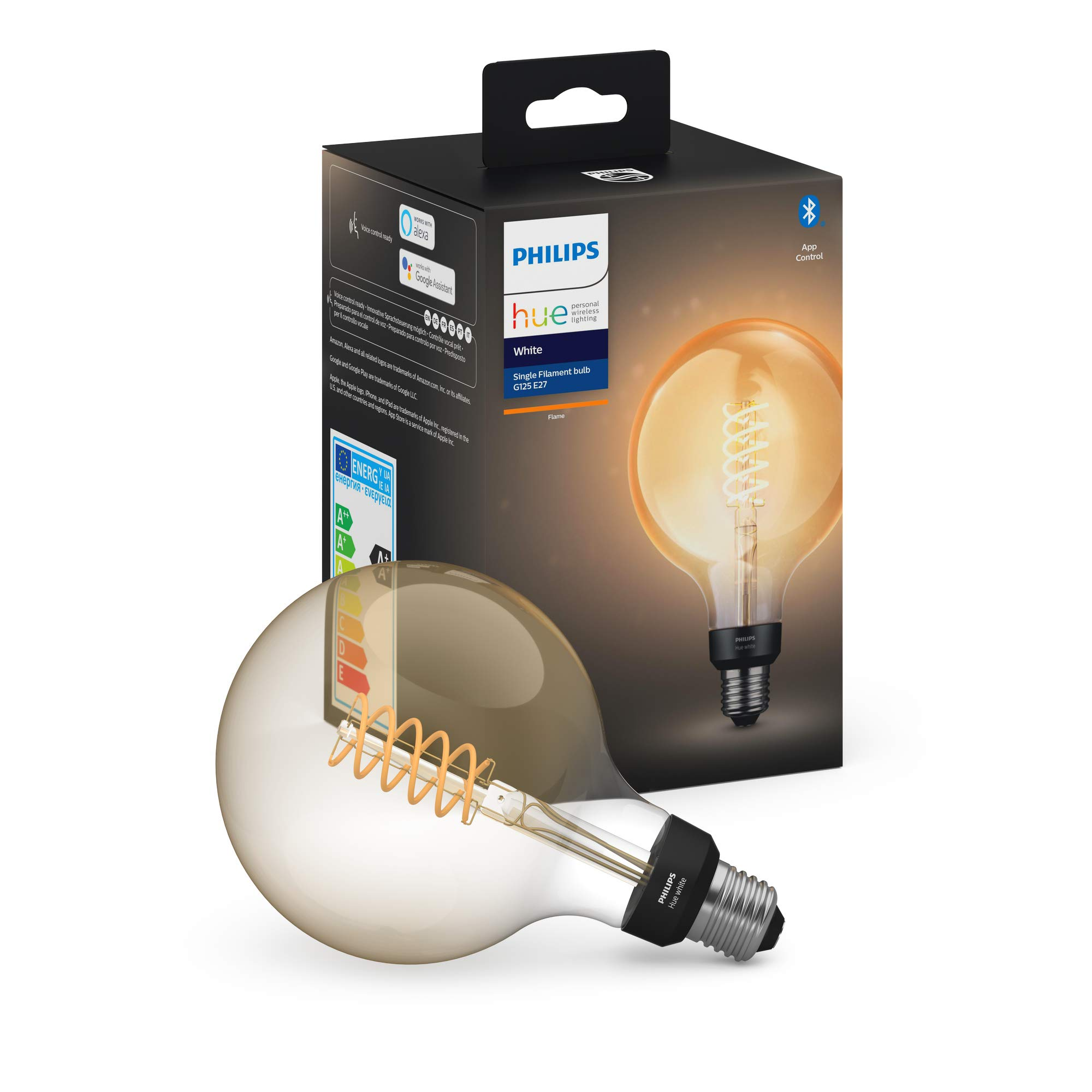 Philips Hue Bombilla Inteligente LED E27, 7W, forma globo, con Bluetooth, Filamento, Luz Blanca Cálida, Compatible con Alexa y Google Home