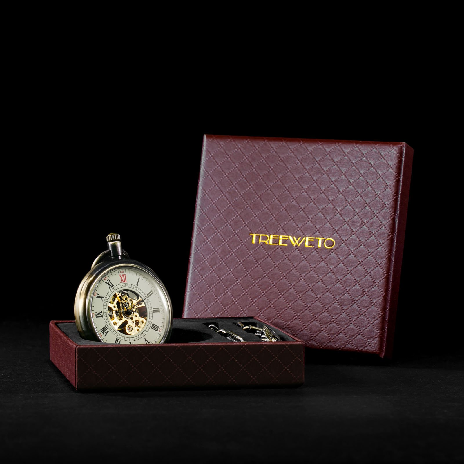 Treeweto Bronze Open Face Mechanical Pocket Watch Roman Numerals Skeleton Dial Watch
