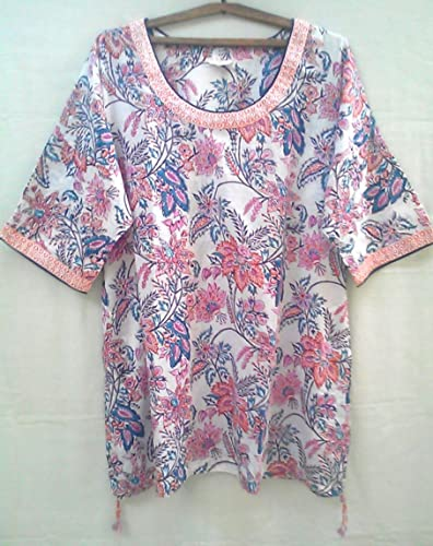 abac256faa1 Amazon.com: Chinoiserie Floral Anokhi Hand block print Indian cotton Kaftan Tunic  Top: Handmade