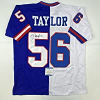 $134 » Autographed/Signed Lawrence Taylor New York Split Football Jersey Beckett BAS COA