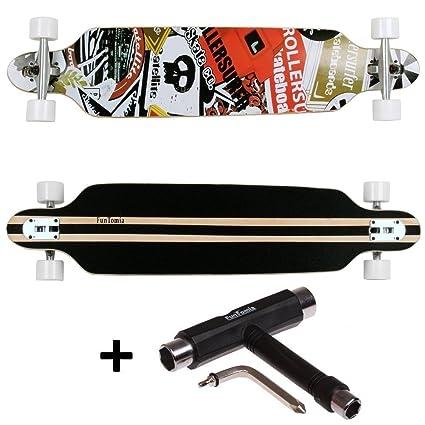 FunTomia® Freerider Longboard monopatín - 107cm x 26cm - rodamientos Mach1® - Hecho con