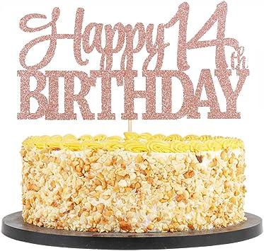 Awe Inspiring Amazon Com Qiynao Rose Gold Glittering 14 Happy Birthday Cake Personalised Birthday Cards Akebfashionlily Jamesorg