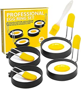 Egg Ring for Frying Eggs and English Muffin - Round Egg Shaper Mold with Anti-scald Handle - Stainless Steel Non-stick Egg Cooker Ring - 4 Pack (Oil Brush Included) (Egg roll-4P)