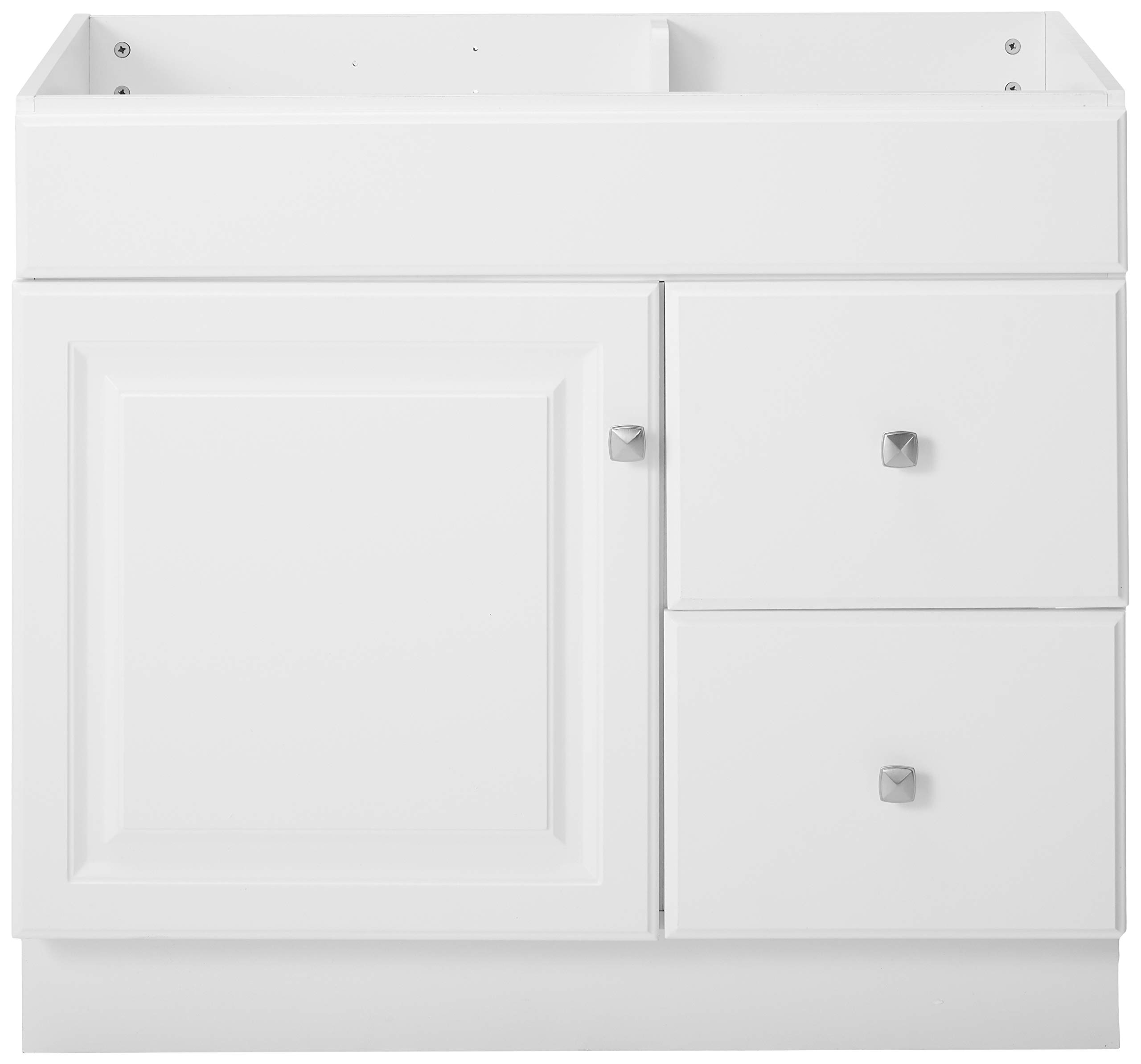 """Design House 531954 Wyndham Ready-To-Assemble 1 Door/2 Drawer Vanity, White, 36""""W x 31.5""""T 21""""D, Cabinet Only - Cabinet only. Top sold separate. 2-drawer construction gives you plenty of storage for toiletries Measures 36-inches wide by 31.5-inches tall by 21-inches deep - bathroom-vanities, bathroom-fixtures-hardware, bathroom - 71RMAUqIfTL -"""