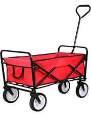 HOMFA Carro Plegable de Mano Carro transporte para jardín Carro para playa Carga 80kg (Rojo