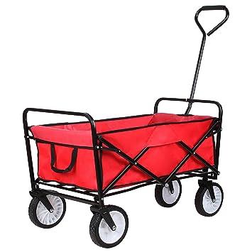 HOMFA Carro Plegable de Mano Carro transporte para jardín Carro para playa Carga 80kg (Rojo): Amazon.es: Hogar