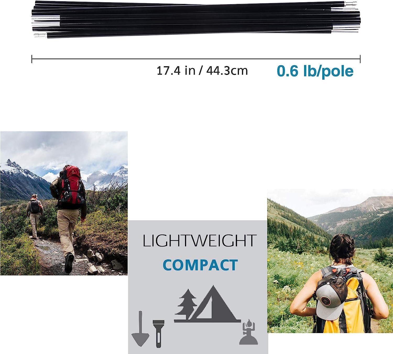 "BRILLIANCE4U Tent Poles Replacement Female Ends Tent Rod 0.33/""8.5mm 176.7 in 2 Poles Pre-Assembled Aluminum Tent Pole"