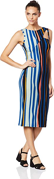 Vestido midi canelado estampado, Forum, Feminino, Azul/preto/salmão/laranja, PP