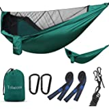 Tolaccea Camping Hammock with Mosquito Net, Lightweight Portable Hammock, Hold Up to 300kg, Parachute Nylon Hammocks with 2 T