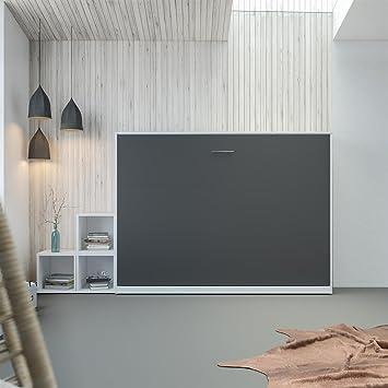 SMARTBett Schrankbett 140x200 Horizontal Weiß/ Anthrazit ohne ...