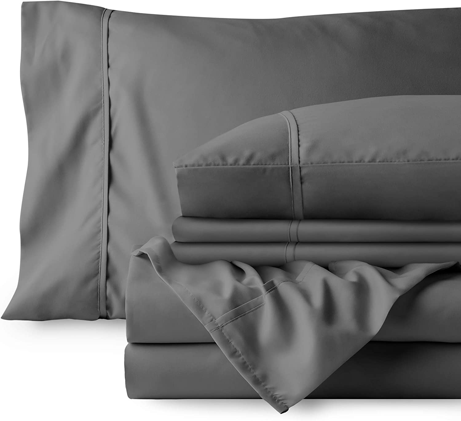 Bare Home 6 Piece 1800 Deep Pocket Bed Sheet Set - Ultra-Soft Hypoallergenic - 4 Pillowcases (Queen, Grey)