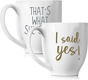 I Said Yes & That's What She Said Coffee 15oz mugs Set for Wedding | Unique Gifts for Couples | His and Hers Novelty Engagement Gifts for Newlyweds | Dishwasher Safe, 2 Piece Set (White)