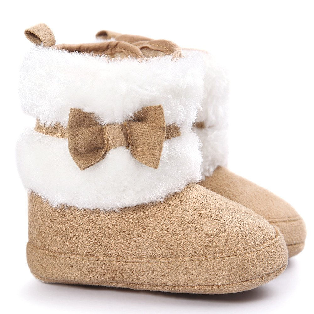 Auwer Childrens Winter Snow Boots, Children Baby Bowknot Keep Warm Soft Sole Snow Boots Soft Crib Shoes Toddler Boots Baby Kids Casual Shoes