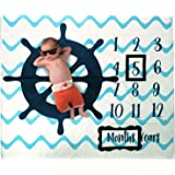 Baby Monthly Milestone Photo Blanket | Month Baby Blanket for Pictures- Nautical