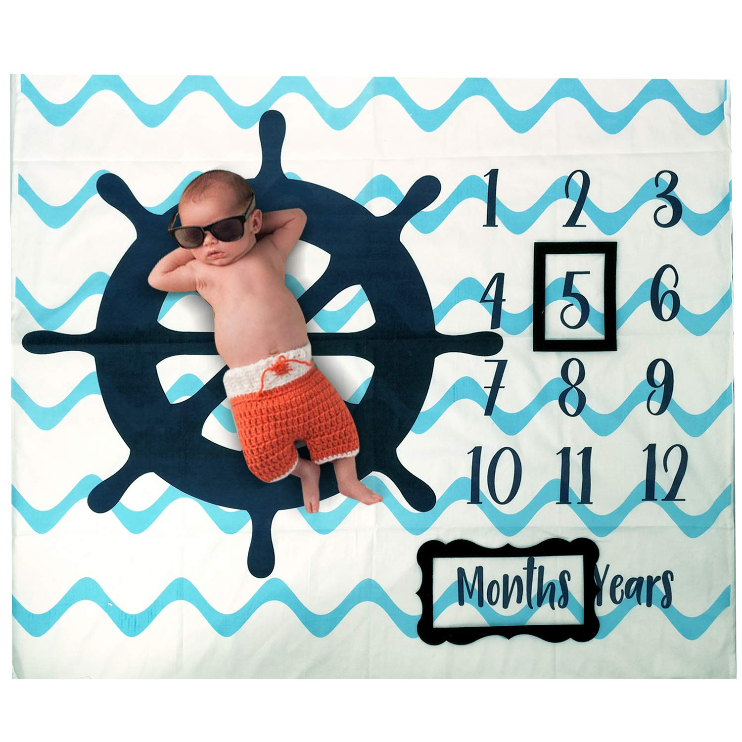 Baby Monthly Milestone Photo Blanket | Month Baby Blanket for Pictures- Nautical Baby Shower Gifts