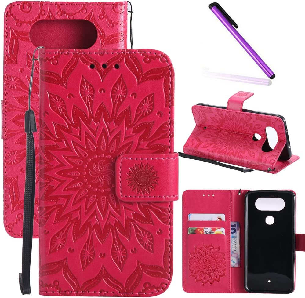 LG Q8 Case, LG V20 Mini Case LEECOCO Embossed Floral Wallet Case with Card Cash Holder Slots Wrist Strap [Kickstand] Premium PU Leather Folio Flip Slim Case Cover for LG Q8 Mandala Red
