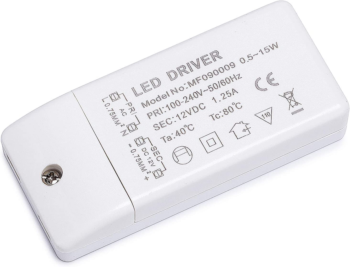 Yafido LED Transformador 220V (AC) a 12V (DC) Trafo 0,5-15W 1,25A LED Driver Fuente de Alimentación para Bajo Voltaje Bombillas G4 MR16 GU5.3 MR11 Tira LED