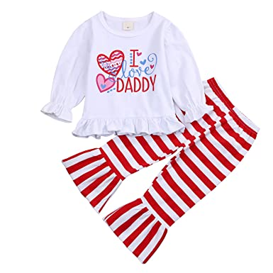 83f87bb3dda5 I Love Daddy Toddler Kids Baby Outfits Ruffle Flare Sleeves Top Heart  T-Shirt+