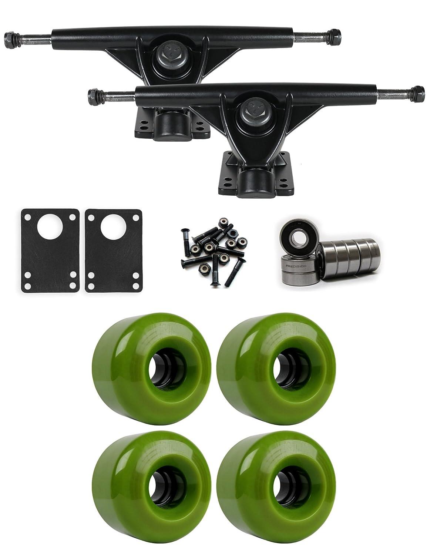 RKPブラックLongboard Trucksホイールパッケージ70 mm x 46 mm 83 a 7496 Cグリーン   B01IJ8H43A
