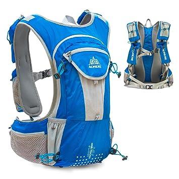 TRIWONDER Chaleco de Hidratación Ligero 12L Superior Mochila para Trail Running Ciclismo Marathoner Profesional Hombre Mujer (Azul - Solo Chaleco): ...