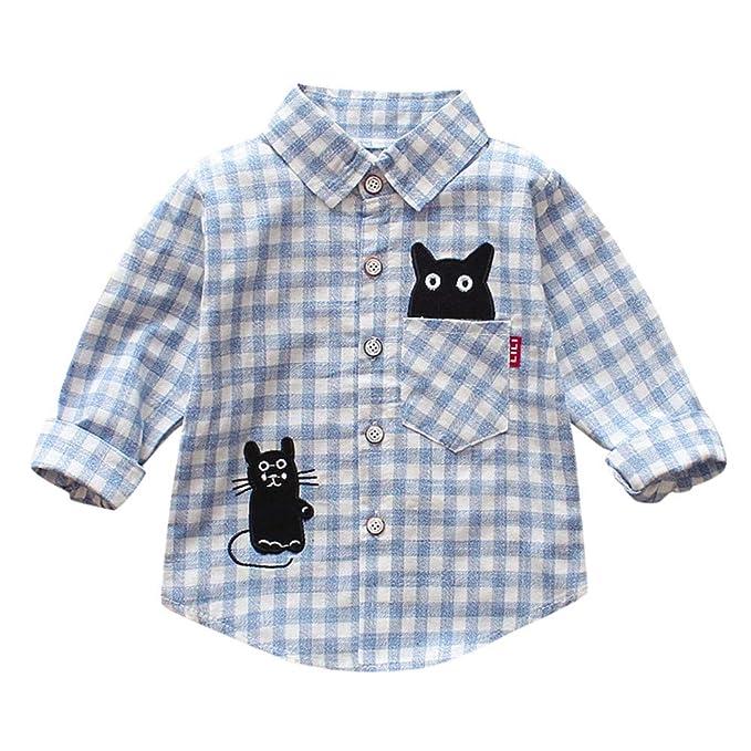 331c8c10fb407 ... Camisetas de Cuadros con Estampado de bebés de niños pequeños Camisetas  de Caballero con Tapas de Gato con Mangas largas  Amazon.es  Ropa y  accesorios