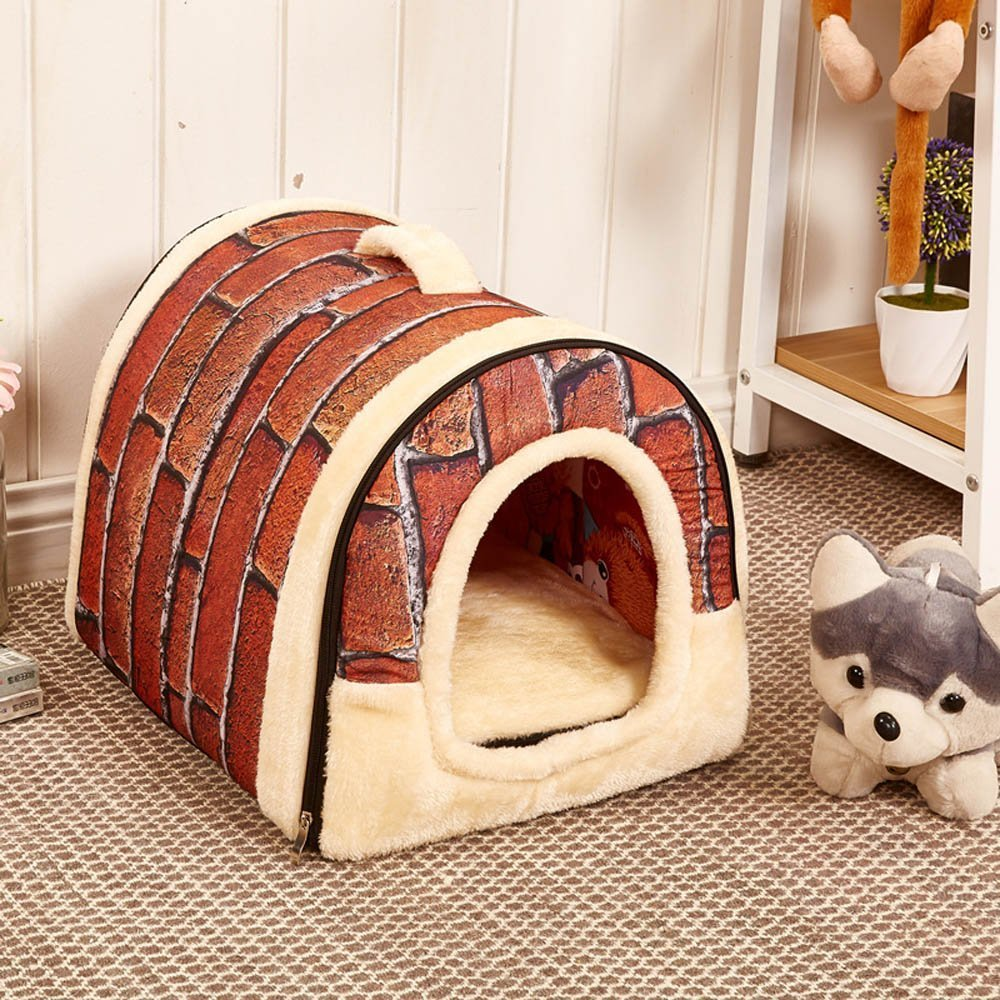yuxufeng Multifuctional Warm Fleece Soft Removable Dog House Nest with Mat Foldable Pet Dog Cat Bed House for Small Medium and Large Dogs (L, Brick Wall)