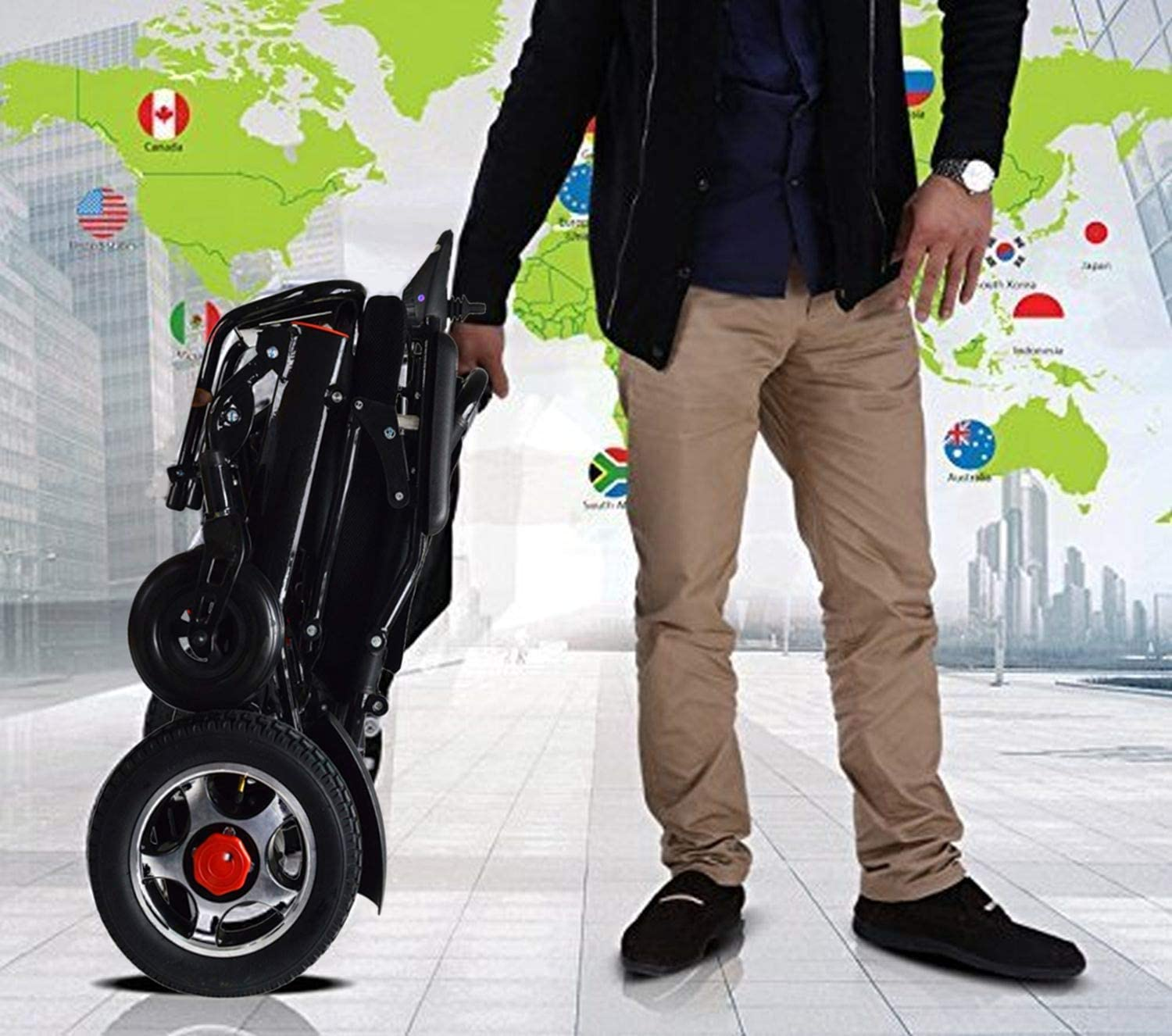2020 Lightweight Electric Power Wheelchair Mobility Scooter, Aviation Travel Safe Motorized Electric Wheelchair Mobility Aid (Black): Health & Personal Care