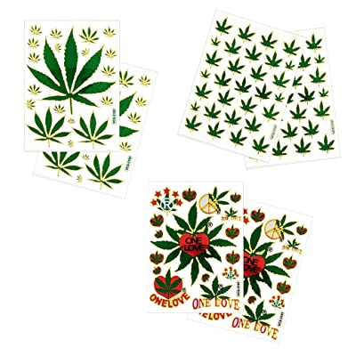 6 Sheets Cannabis Marijuana Leaf Decorative Scrapbook Reflective Stickers - Size 4 X 5.25 Inch./sheet: Toys & Games