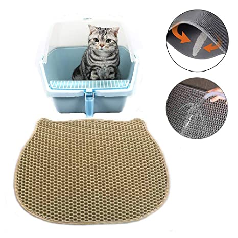 27c537aee OSAYES Cat Litter Mat, Double-Layer Honeycomb Cat Feeding Mat Durable  Waterproof Litter Box Mat Non-Toxic Protect Floor and Carpet Easy Clean Cat  Litter ...