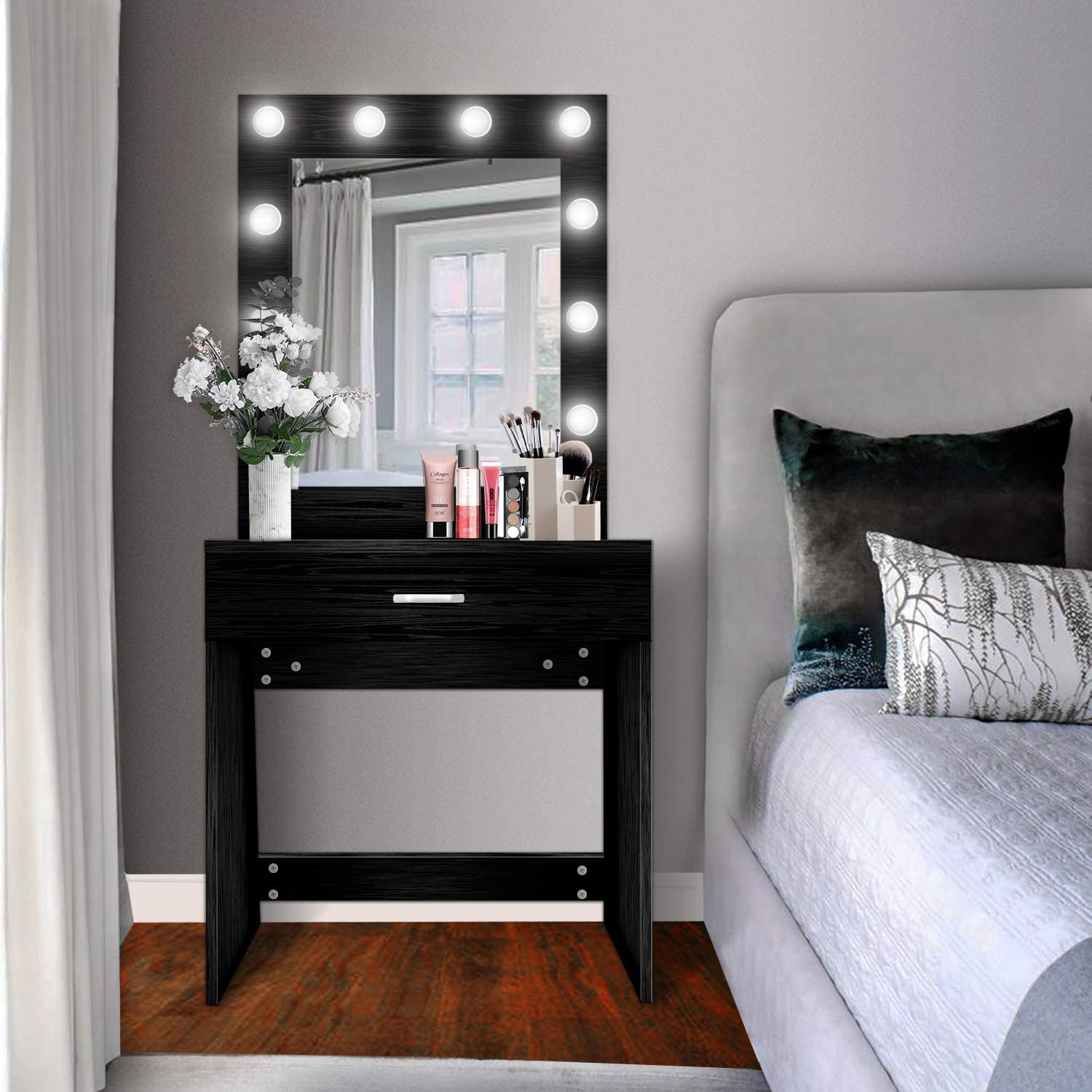 US Shipping Vanity Set with Lighted Mirror, YEEGO Makeup Vanity Dressing Table Dresser Writing Desk with Drawer for Bedroom Easy Assembly, Black (10PCS Cool LED Bulbs)