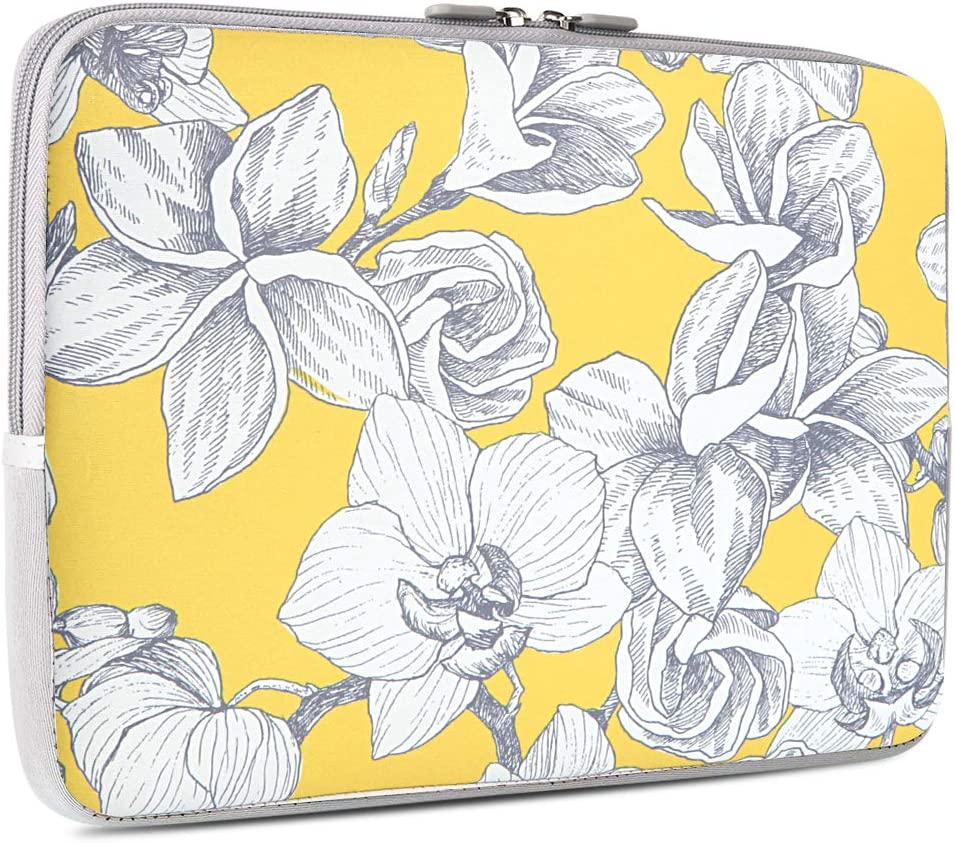 iCasso 13-13.3 inch Laptop Sleeve Bag, Waterproof Shock Resistant Neoprene Notebook Protective Bag Carrying Case Compatible MacBook Pro/MacBook Air - Yellow Flower