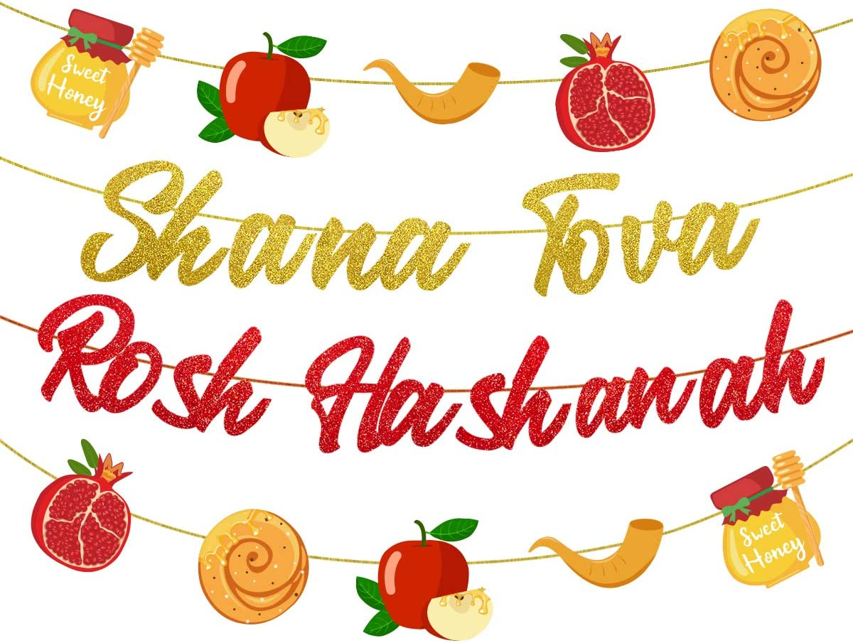 Rosh Hashanah Decorations Shana Tova Rosh Hashanah Banner Garland Red and Gold Jewish New Year Theme Party Decor Supplies