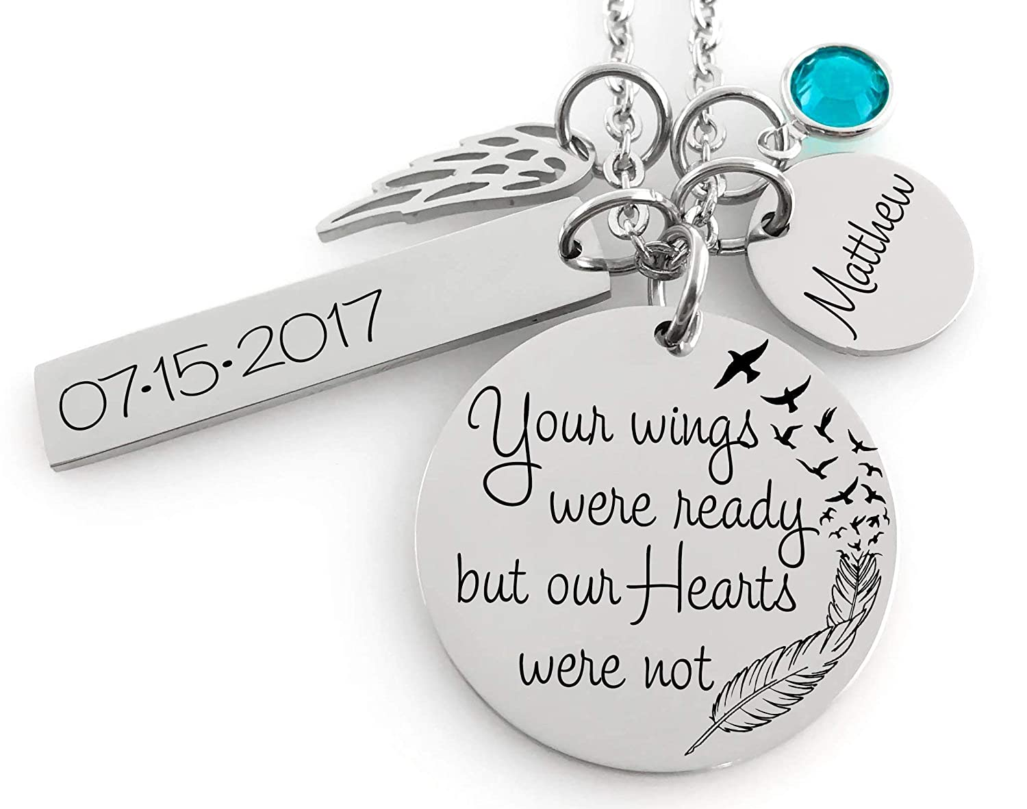 Memorial Jewelry Necklace Name Disc Angel Wing /& Birthstone Crystal Your wings were ready but my heart was not