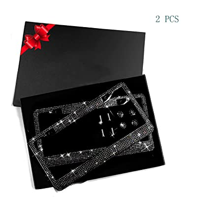 WeTest 2 Pack Premium Diamond Car License Plate Frame Set– Bling Bedazzled Stainless Steel Car Plate Frames,with 2 Holes Screws Caps Set (Black): Automotive