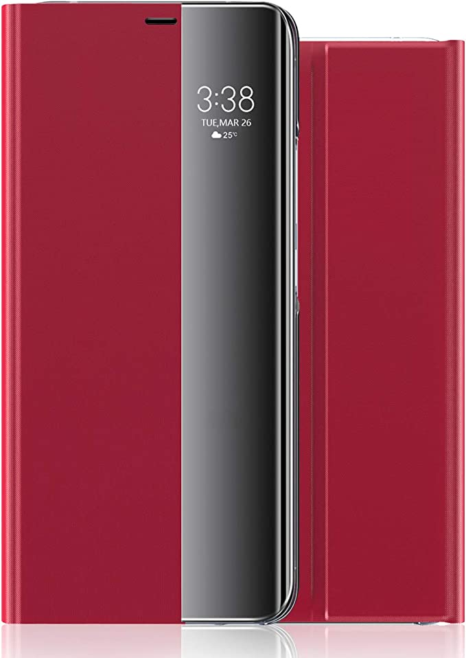 Ganwer Huawei P40 Lite 5g Hülle Booklet Smart View Intelligente Wake Up Sleep Flip Cover Handyhüllen Leder Flip Cover Schutzhülle Für Huawei P40 Lite 5g 1 Jacken Bekleidung